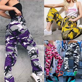 Street style new women camo pants fashion cargo pants hip hop dance pantalones pantalones pitillo con estilo