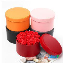 1pc valentine's day gift caja de flores redonda de cuero cajas de regalo caja de embalaje de flores cajas de flores de ramo