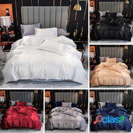 Estilo de lujo venta caliente 7 colores moda satén seda color sólido ropa de cama fundas de edredón juego de cama 2/3pcs funda nórdica+funda de almohada juego de cama us/au/uk individual/twin
