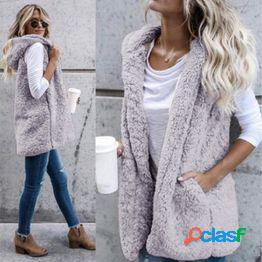 Moda de invierno de alta calidad chaleco de piel sintética abrigo de lujo cálido chalecos de las mujeres chaquetas mujeres abrigos chaqueta