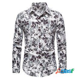 Spring and autumn popular european station street fashion casual floral long sleeve shirt