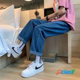 Jeans hombre 2021 nuevos pantalones rectos de pierna ancha tendencia suelta coreana wild student casual daddy pants pantalones