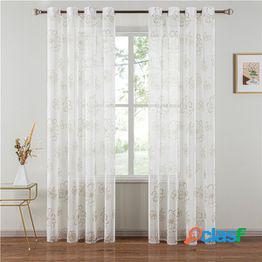 Elegante estampado floral sheer tulle cortinas para dormitorio salón cocina voile ventana drapeado cenefa