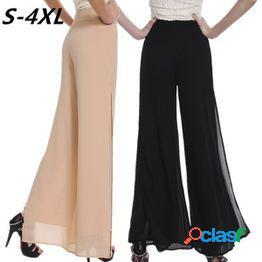 S-4xl vintage suelta cintura alta pantalones largos gasa side split casual palazzo pants pantalones de pierna ancha pantalones
