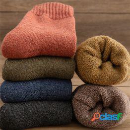 1 par de calcetines de mujer y hombre calcetines de felpa gruesos y gruesos de invierno calcetines de tubo de mujer calcetines de piso calcetines de toalla de lana de imitación