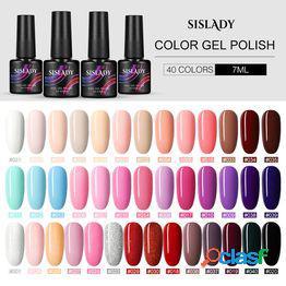 7 mll esmalte en gel para uñas 40 colores gel uv esmalte de uñas semi permanente decoración de arte de uñas manicura capa superior y base