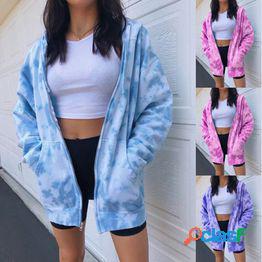 Nueva moda para mujer zip up tie dye sudadera con capucha sudadera informal chaqueta