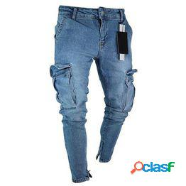 Skinny fit jeans hombre cremallera ripped destroyed tapered leg denim pants hombre pantalones casuales