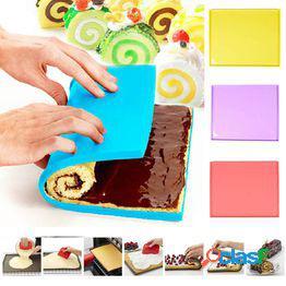 1 pc swiss roll mats accesorios de cocina antiadherentes cake rolls moldes cake pad alfombra de silicona para hornear mat mat herramientas de pastelería
