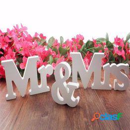 """1 juego""""mr mrs""""wedding letters sign centro de decoración de mesa de bodas independiente (color: blanco, negro)"""