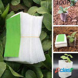 100 piezas de tela no tejida cultivo de plántulas vivero macetas bolsas bolsas de vivero de jardín herramientas de jardín nutriendo