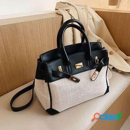 Ocio platino bolso de moda bolso de mujer nuevo brazo cruzado solo hombro portátil bolso grande bolsa de lona de gran capacidad
