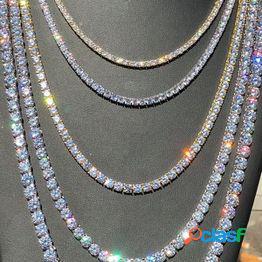 Gorgeous mens gold tennis chain icy diamantes hip hop gargantilla collar de cadena bling jewelry