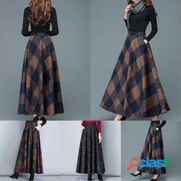 Falda de media longitud a cuadros de talla grande 1pc falda de media longitud de lana falda de una línea falda de gran longitud
