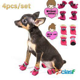 4 piezas impermeables de invierno para mascotas zapatos para perros botas de nieve antideslizantes para lluvia calzado grueso grueso para gatos pequeños perros cachorro calcetines para perros