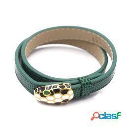 Color belleza 01 cuero cabelludo de serpiente pulsera boca real doble círculo pulsera de cuero pulsera de moda
