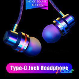 Usb c auriculares con cable in-ear supper bass metal auriculares deportes auriculares auriculares con micrófono tipo-c jack