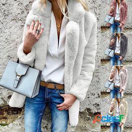 Mujeres s moda otoño e invierno suelta furry cute warm plush lapel chaqueta de color sólido outdoor casual faux fur soft sweet coat jacket