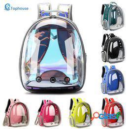 Envío gratis bolsa para gatos bolsa de transporte para mascotas portátil transpirable mochila de viaje al aire libre para gatos y perros mochila para mascotas con espacio transparente