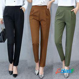 Pantalones elásticos de cintura alta para mujer pantalones ol de oficina verano otoño pantalones hasta el tobillo slim lady pants