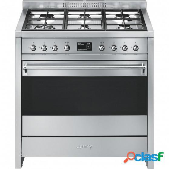 Cocina gas y eléctrica smeg a1-9 90cm inox 6f