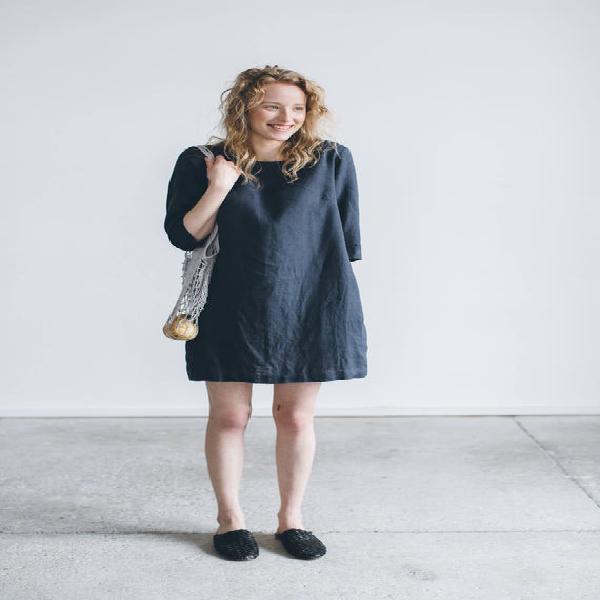 Vestido gris grafito janid - vestido sencillo de lino -