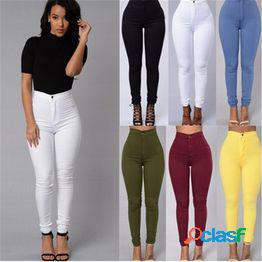 6 colores para mujer casual jeans vintage green denim pants