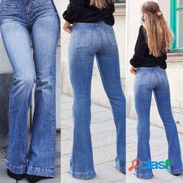 Mujeres moda skinny denim pantalón largo cintura alta trompeta jeans casual slim pencil pants