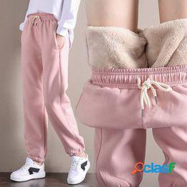 Pantalones deportivos de terciopelo winter plus pantalones femeninos de gran tamaño cálidos y gruesos pantalones bloomers de terciopelo de cordero
