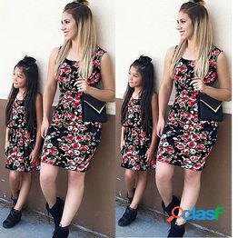 Mujeres madre hija vestidos a juego verano chica vestido floral ropa traje