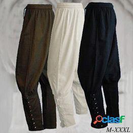Pantalones con bandas en el tobillo de los hombres medieval viking navigator pantalones renaissance pants