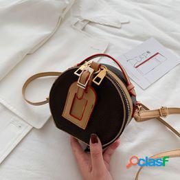Textura retro mini bolso redondo pequeño estilo 2020 nuevo mini bolso de pastel redondo rojo neto hombro colgado cambiar bolso pequeño
