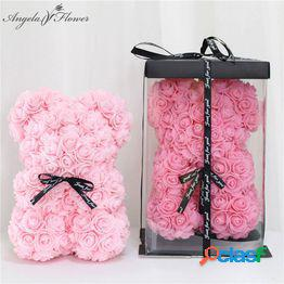 Diy 25cm teddy rose bear with box artificial pe flower bear rose valentine s day for girlfriend women madre s day gifts