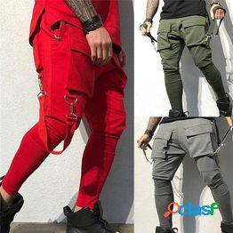 Pantalones de bolsillo de costura para hombres pantalones deportivos de entrenamiento deportivo pantalones casuales para exteriores