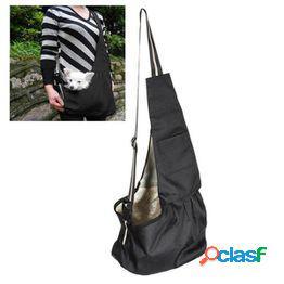 Bolso de tela oxford lavable duradero de un solo hombro sling bag pet dog cat carrier bag-tamaño (negro)