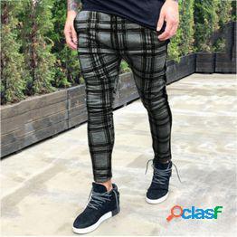 Pantalones deportivos casuales largos para hombres pantalones a cuadros ajustados pantalones deportivos para correr pantalones deportivos