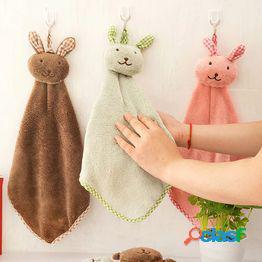 Toalla de baño de felpa de lana de coral suave conejo lindo guardería bebé toalla de mano niños de dibujos animados limpie la toalla de baño colgante