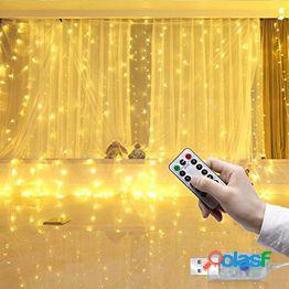 3m 8 modos control remoto usb luz de cortina de alambre de cobre luz de cadena de hadas impermeable para dormitorio fiesta de jardín boda decoración navideña blanco cálido/blanco/azul/multico