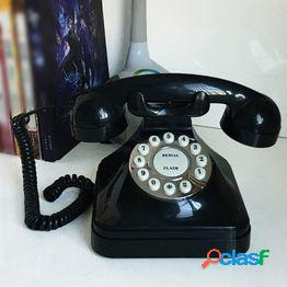 Vintage retro teléfono antiguo con cable con cable landline teléfono decoración de escritorio para el hogar (negro)