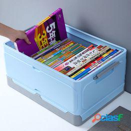 Caja de almacenamiento de libros plegable estudiante cargado libro almacenamiento acabado artefacto plástico poner libro caja de almacenamiento caja de almacenamiento