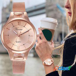 Relojes de mujer rand moda de lujo diamante relojes de pulsera para mujer acero inoxidable correa de malla de oro rosa reloj de cuarzo femenino
