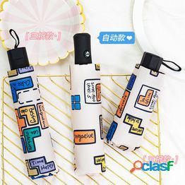 Tetris sombrilla completamente automática protección solar femenina uv cinco plegable ultraligero portátil mini sombrilla