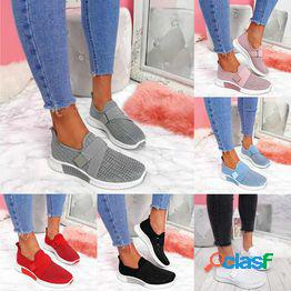 Zapatos casuales de mujer zapatillas de deporte de malla sólida de cristal pisos moda zapatos vulcanizados para mujer tallas grandes 35-43