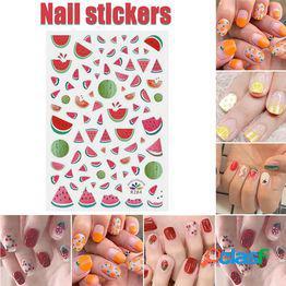 3d nail sticker nail art etiqueta de transferencia de agua calcomanías hoja verano diy manicura