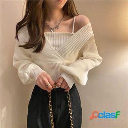 Modelos de otoño 2021 nuevo sentido del diseño coreano camisa de máquina de corazón con cuello en v falsa dos suéter de manga larga suéter de otoño e invierno para mujer