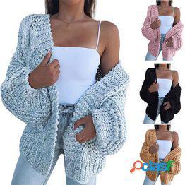 Suéteres de punto otoño invierno nueva moda tallas grandes manga larga cárdigans de color sólido ropa de abrigo mantener abrigos cálidos