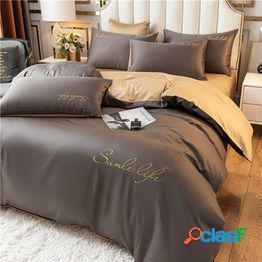 Cama simple de lujo ligero cuatro juegos de ins viento sábana de color sólido funda de edredón ropa de cama dormitorio sábana de tres piezas 4
