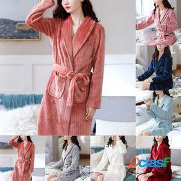 Pareja moda otoño e invierno pijamas de color sólido ropa de dormir parka con capucha cálido tallas grandes manga larga bata con capucha hombres y mujeres confort pijama camisón de casa y vid
