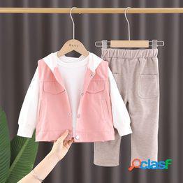 Traje de primavera para niños 0 uno 1-2-3 años ropa para niños siete ocho nueve meses niños pequeños bebé primavera traje de tres piezas