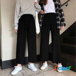 Pantalones de pierna ancha mujeres pantalones de cintura alta sólidos plisado suelto casual elegante chic school daily girls pants
